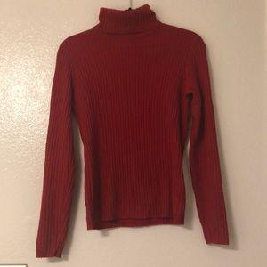 J. Crew 100% cashmere red turtleneck size M